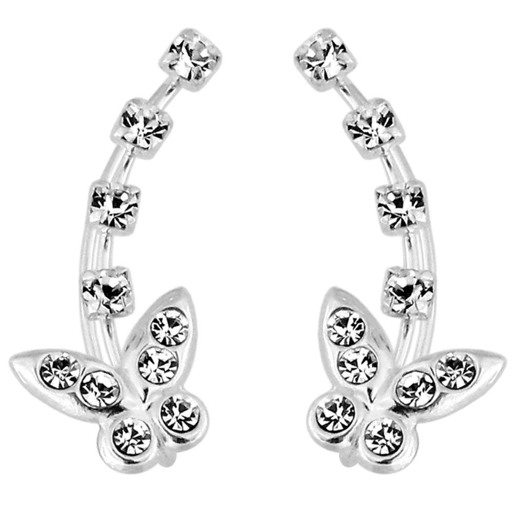 Triple Multi Crystal Stone Flower 925 Sterling Silver Cuffs /& Wraps Climbers Earring