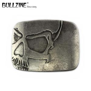 Embossed skull custom western cowboy belt buckles antique silver finish for belt FP-03698 manufacturers large series in stock