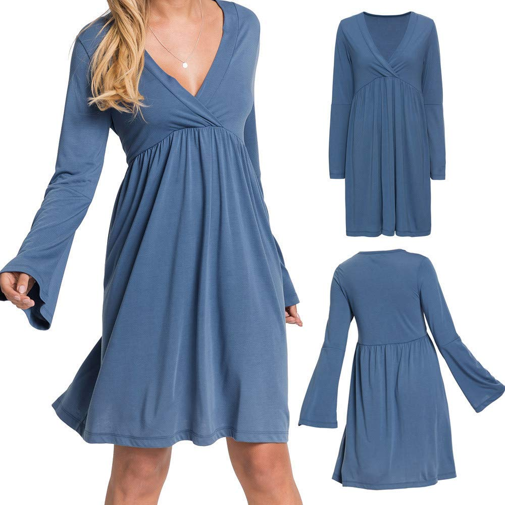 1a8182d4ce6 Get Quotations · Women s Dresses Long Flare Sleeve Ruffled Sexy V-Neck  High-Waist Pleated Dress Casual