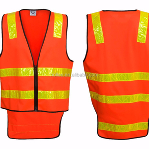 AS/NZS day/night use orange safety vest with yellow plastic tapes