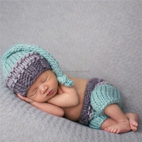 Cute Newborn Photography Prop Clothes Infant Baby Girls Boys Knitted Hat Pants Outfits Clothing For Photo