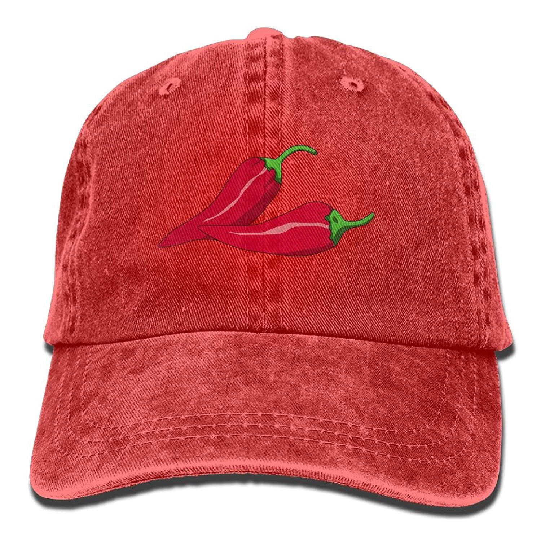 3d6ec3cf Get Quotations · MeiMeiii Red Vector Chili Vegetable Adult Cowboy Style  Baseball Cap Hat Trucker Hat