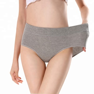 OEM Women's briefs Comfortable and cool bamboo fiber panties pure color classic high waist underwear girl Fashion underpants