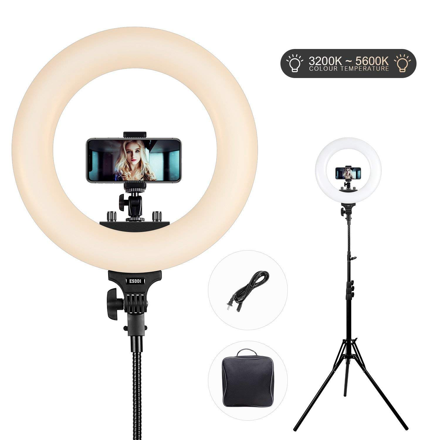 ESDDI 18inch Outer Dimmable SMD LED Ring Light 3200K-5600K Adjustable Color Temperature with Adjustable Light Stand, Phone Adapter, Soft Tube for Studio Lighting, YouTube Video, Vlog, Selfie, Portrait