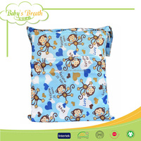 BCD098 Waterproof Printed Polyester Wetbag Zipper Baby Cloth Nappy Diaper Baby Wet Dry Bag