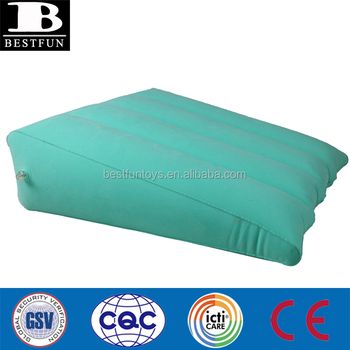 heavy duty comfort inflatable portable bed wedge pillow with velour surface durable flocked camping wedge pillow