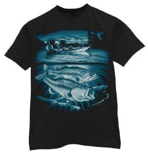 ab9b4c91 Get Quotations · Details about Bass & boat fishing design graphic tee mens t -shirt tee shirt Black