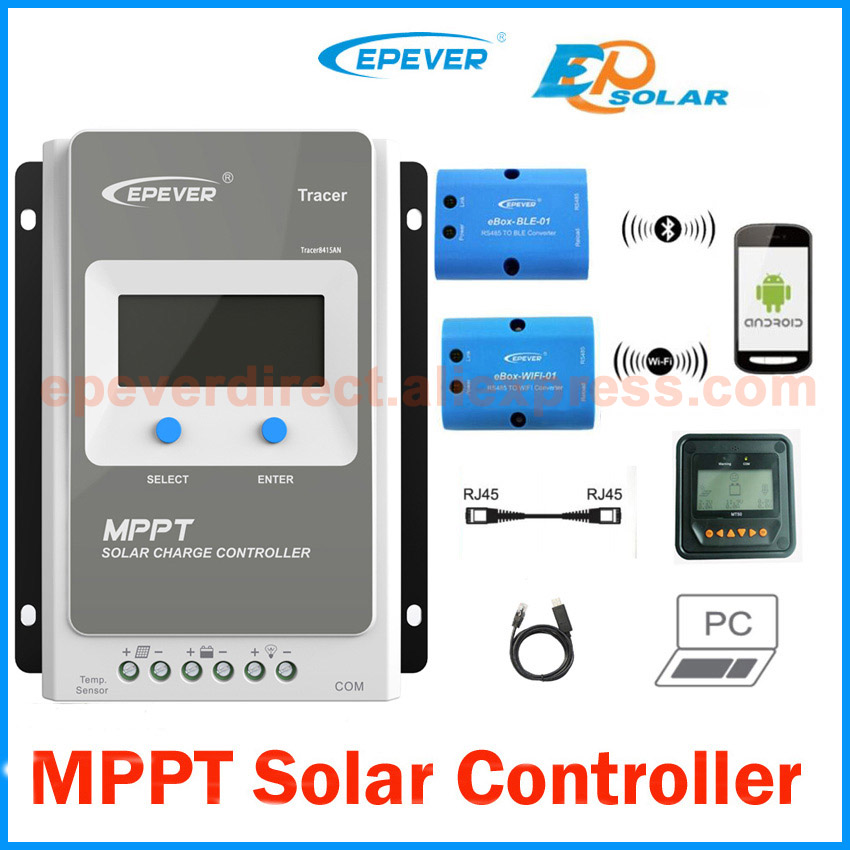 40A 12V 24V New Tracer 4210A 40 amps Programmable MPPT Solar Charge Controller Boost Float Low voltage adjustable PC Connector