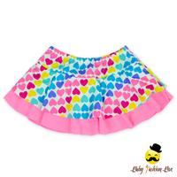 Kids Rainbow Heart Printed Cap Cake Ruffle Little Girl Swimsuit Beachwear Mini Skirt