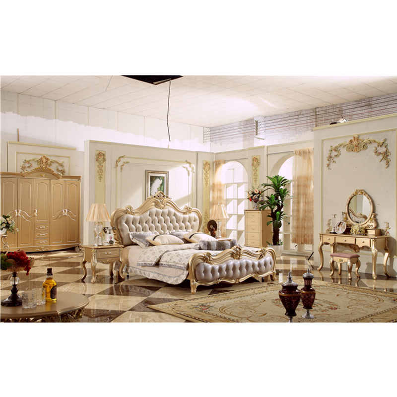 Luxe royal fancy massief houten home bed room meubels slaapkamer set