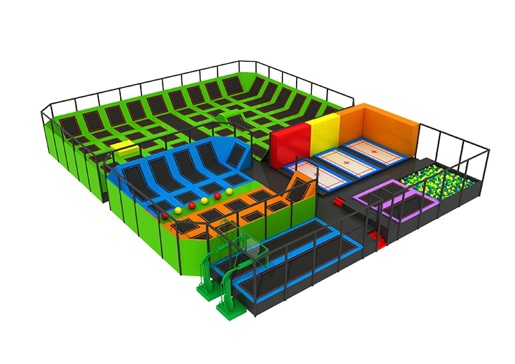 Children indoor playground large rectangle trampoline equipment, game of trampoline