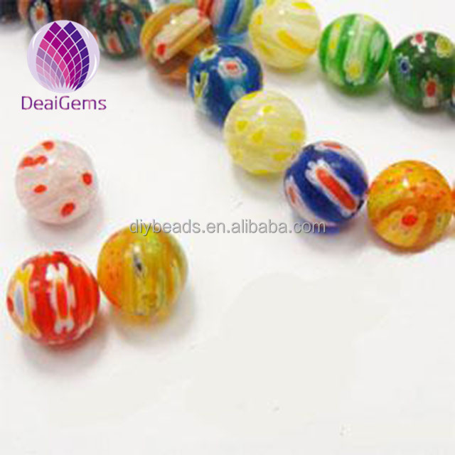 Bead,millefiori glass,multicolored 14mm round