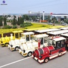 Popular tourist attraction amusement park rides family sightseeing games 40 seats diesel engine road trackless train for sale