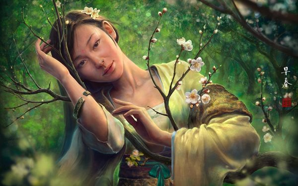 <font><b>asian</b></font> oriental fantasy art women females face eyes pov trees blossoms flowers forest mood <font><b>Home</b></font> <font><b>Decoration</b></font> Canvas Poster