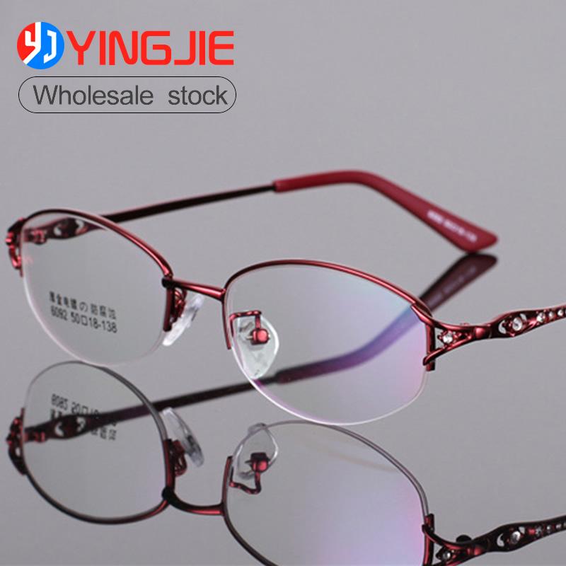 Fashion Economic basic linemetal optical frames Cheap metal eyeglasses Metal Half Rim Optical Frame For Ladies two tonecolor6092 фото