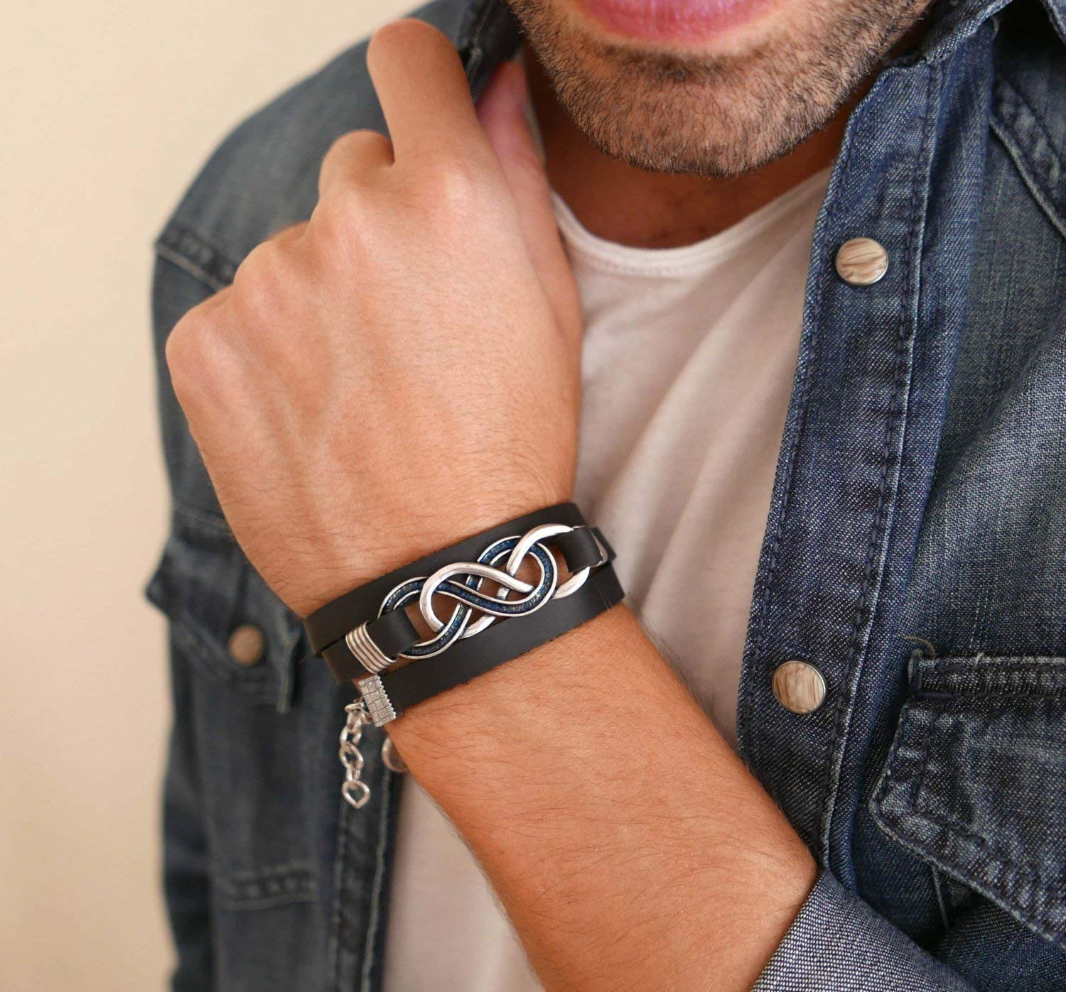 Cuff Bracelet For Men Handmade Cuff Black Genuine Leather Bracelet For Men Set With Silver Plated Infinity Pendant By Galis Jewelry Infinity Bracelet For Men