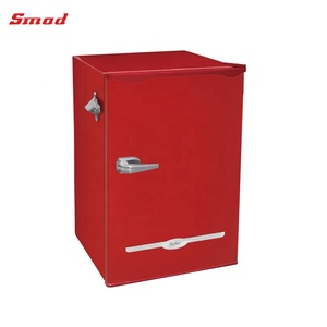 Colorful Retro Fridge Red Colored Refrigerator With Lock and Key
