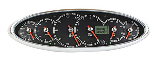 SpeedHut GIC-01 Icon, 6 in 1 Gauge Cluster (Black dial with White font, Chrome Blade Racer Red Pointer)