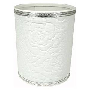 Traditional Times Quilted Rose Pattern Round Vinyl Wastebasket R136WHSV by Redmon