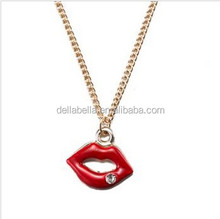 Sexy red lip shape diamond necklace