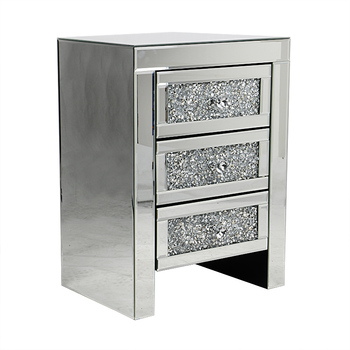 Mirror 3 Drawer Crushed Diamond Furniture Crystal Bedside Table Mirrored Product On