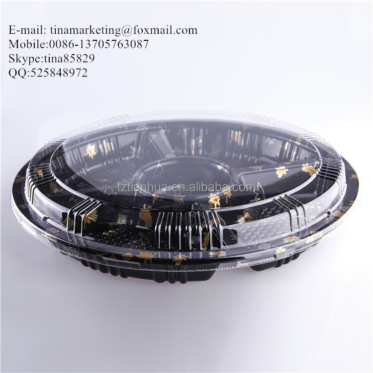 Custom Disposable Blister Plastic Round Sushi Tray/ Party Tray/ Fruit Container Box with 5 Dividers
