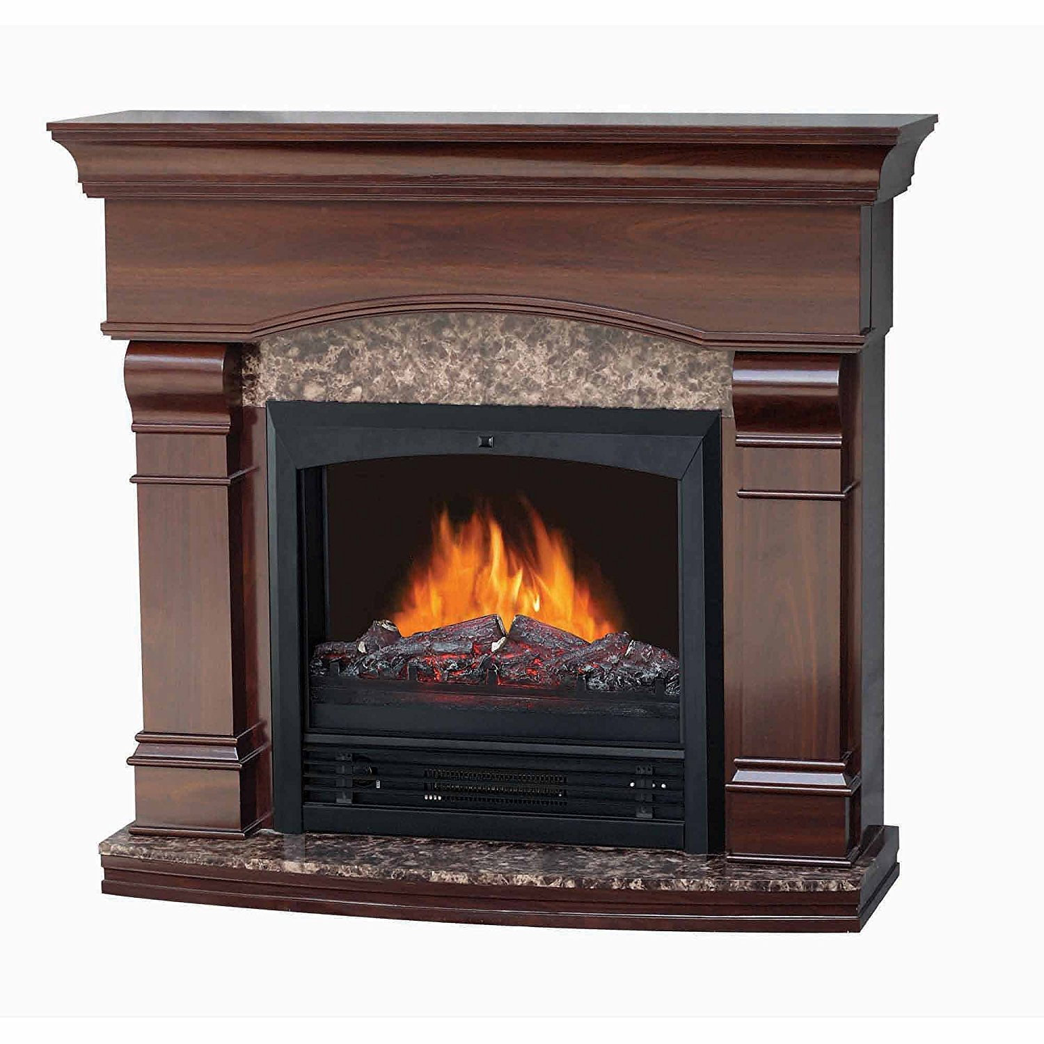"""Decor-Flame Electric Fireplace with 47"""" Mantle, Walnut"""