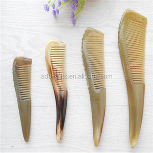 creative handmade natural real cow hair horn comb