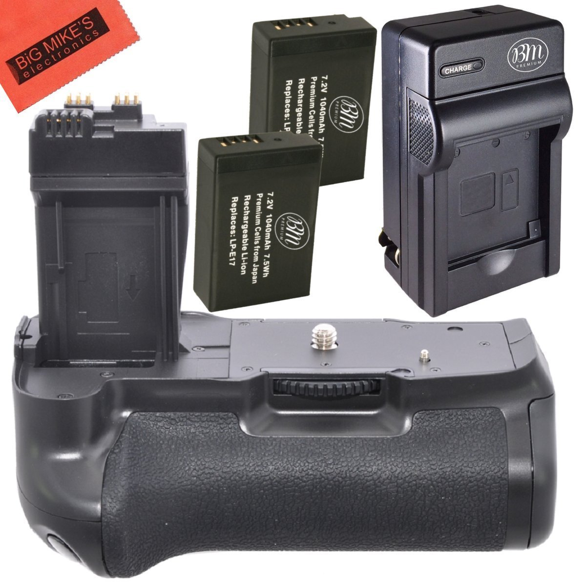 Battery Grip Kit for Canon EOS 1100D, EOS Rebel T6i, Rebel T6s, EOS 750D, EOS 760D, EOS 8000D, KISS X8i Digital SLR (BG-E18 Replacement) - Includes Battery Grip + 2 LP-E17 Batteries + Battery Charger