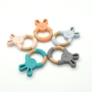 Silicone and Wooden Teether Shapes Creative Toys for Kids