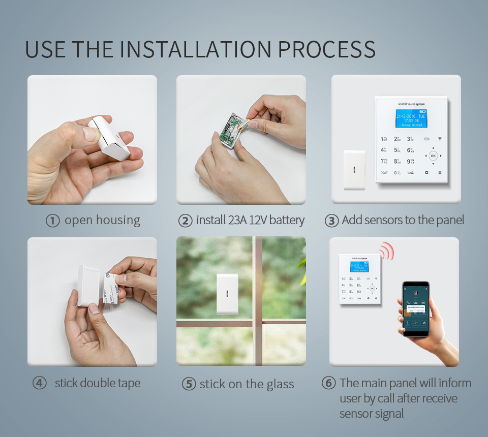 Anti-hırsız akıllı ev güvenlik alarmı şok titreşimli alarm dedektörü 433 MHz kablosuz cam kırılma sensörü