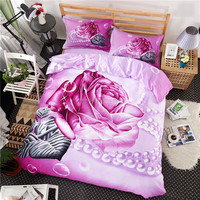 Reasonable competitive Queen rose printed flower 3D duvet cover 100% polyester