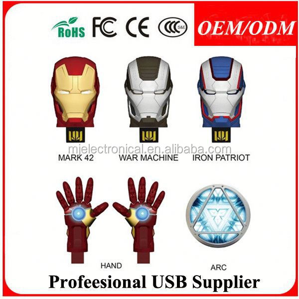 cartoon figure iron man usb device , marvel avengers ironman usb flash drive