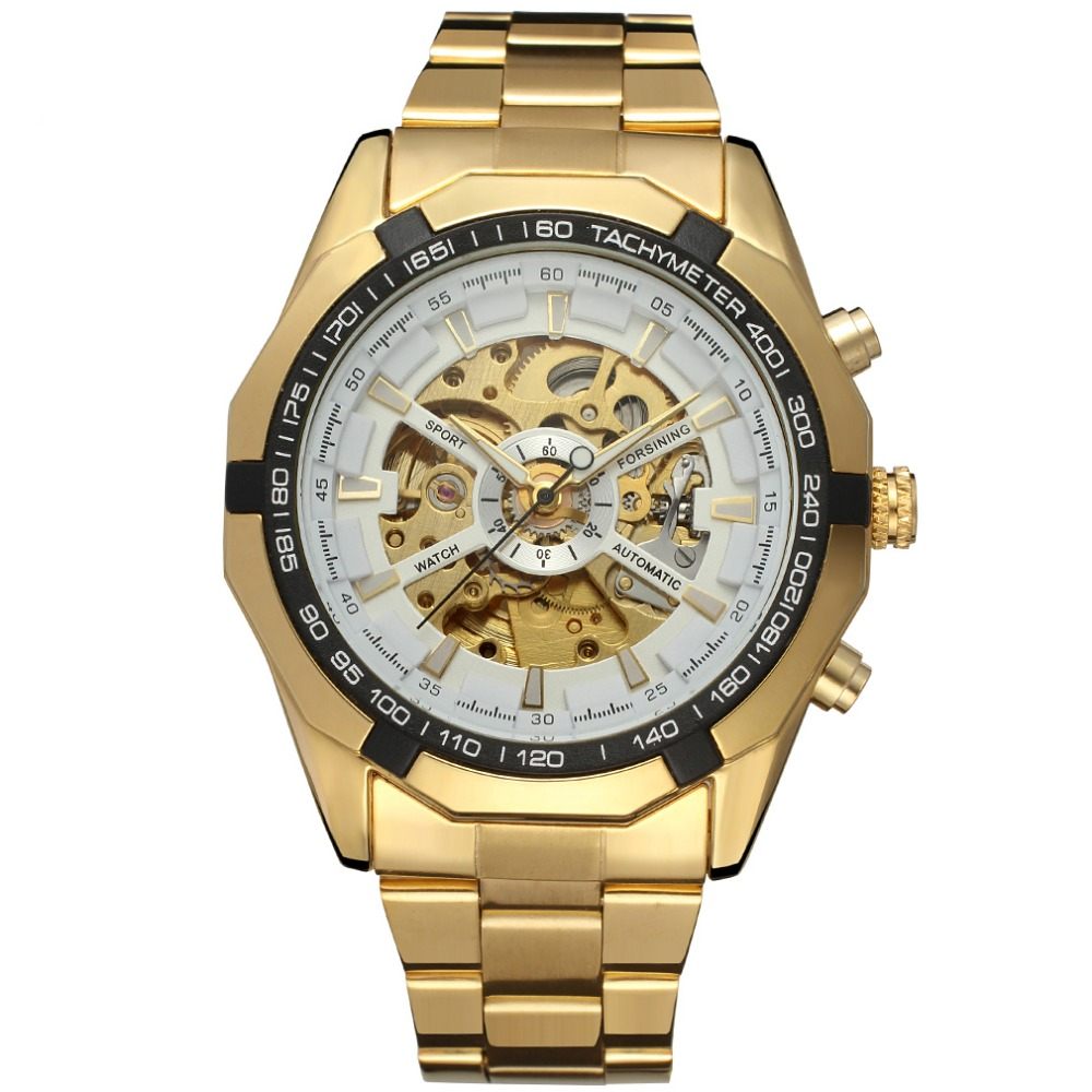Wholesale Gold Color Skeleton Automatic Mechanical Watch Made From China Factory