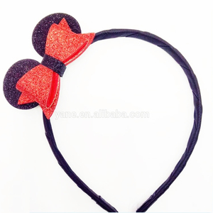Fashion style headband about glitter roundness ear stick a red bowknot
