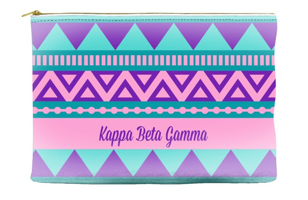 Kappa Beta Gamma Tribal Pattern Purple Cosmetic Accessory Pouch Bag for Makeup Jewelry & other Essentials