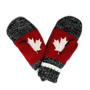 Cheap red adult acrylic mittens winter gloves knitted maple leaf gloves and mittens