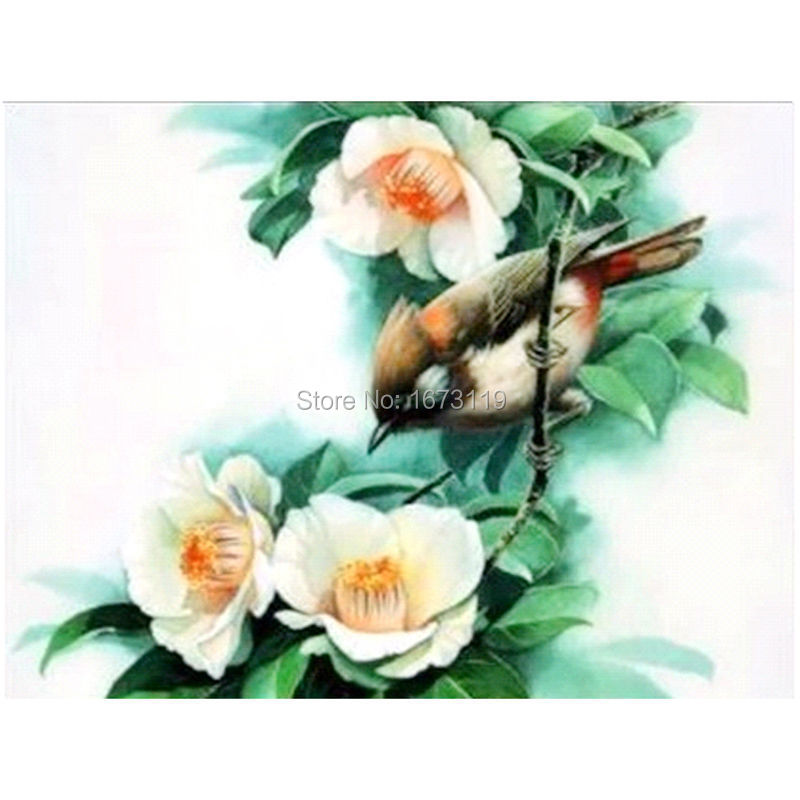 Flowers and bird 30*40cm diy diamond painting pasted painting square drill fashion wall stickers home decor