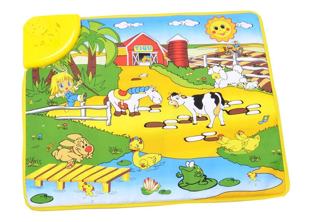 Gbell Toddler Music Play Mat,Happy Farm Singing Dancing Musical Mat Games Educational Floor Carpet Toys for Kids Baby Infants Girls Boys 1 2 3 4 5 Years Old Gift,49 x 59CM