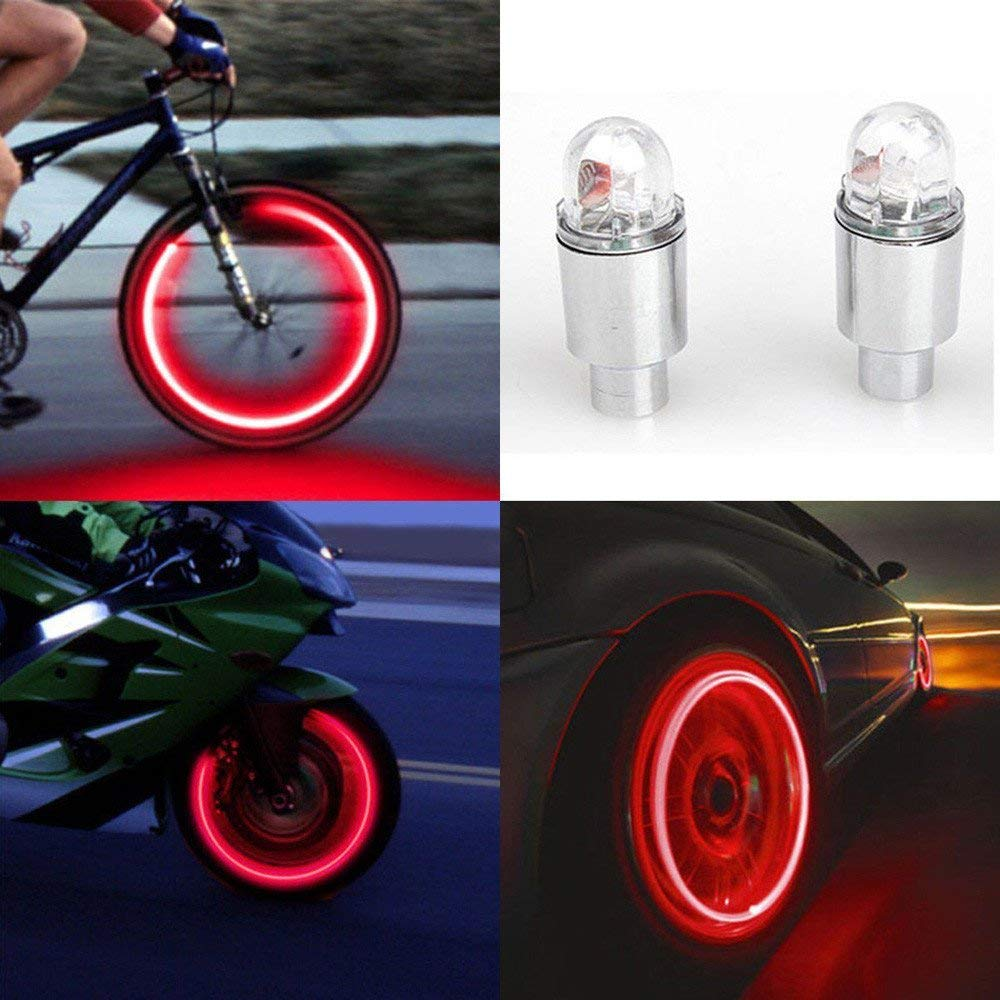oldeagle 2Pcs Waterproof Bike LED Tire Valve Stem Caps Neon Light Bicycle Car Auto Accessories