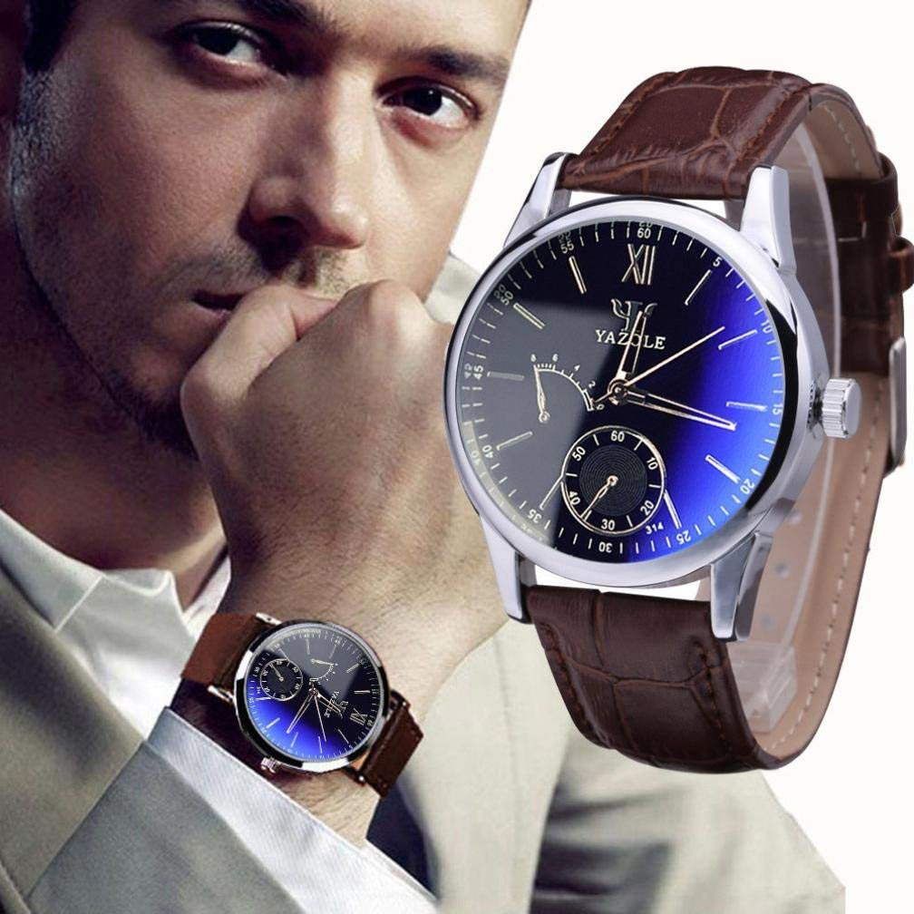 Pocciol Clearance!Mens Quartz Analog Watches, Luxury Faux Leather Blue Ray Glass Cool ! (Brown)