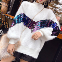 autumn spring crew neck batwing sleeve mohair women sequined winter cashmere pullover sweaters lady loose causal girl jumpers