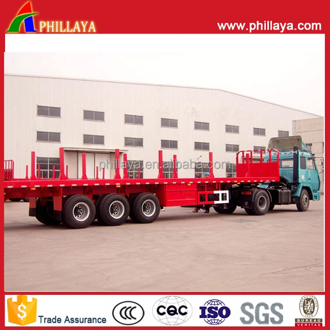 Log Transporter Flatbed Semi Trailer/Wood Timber Transport Truck -Semi Trailer With Platform Extendable Optional