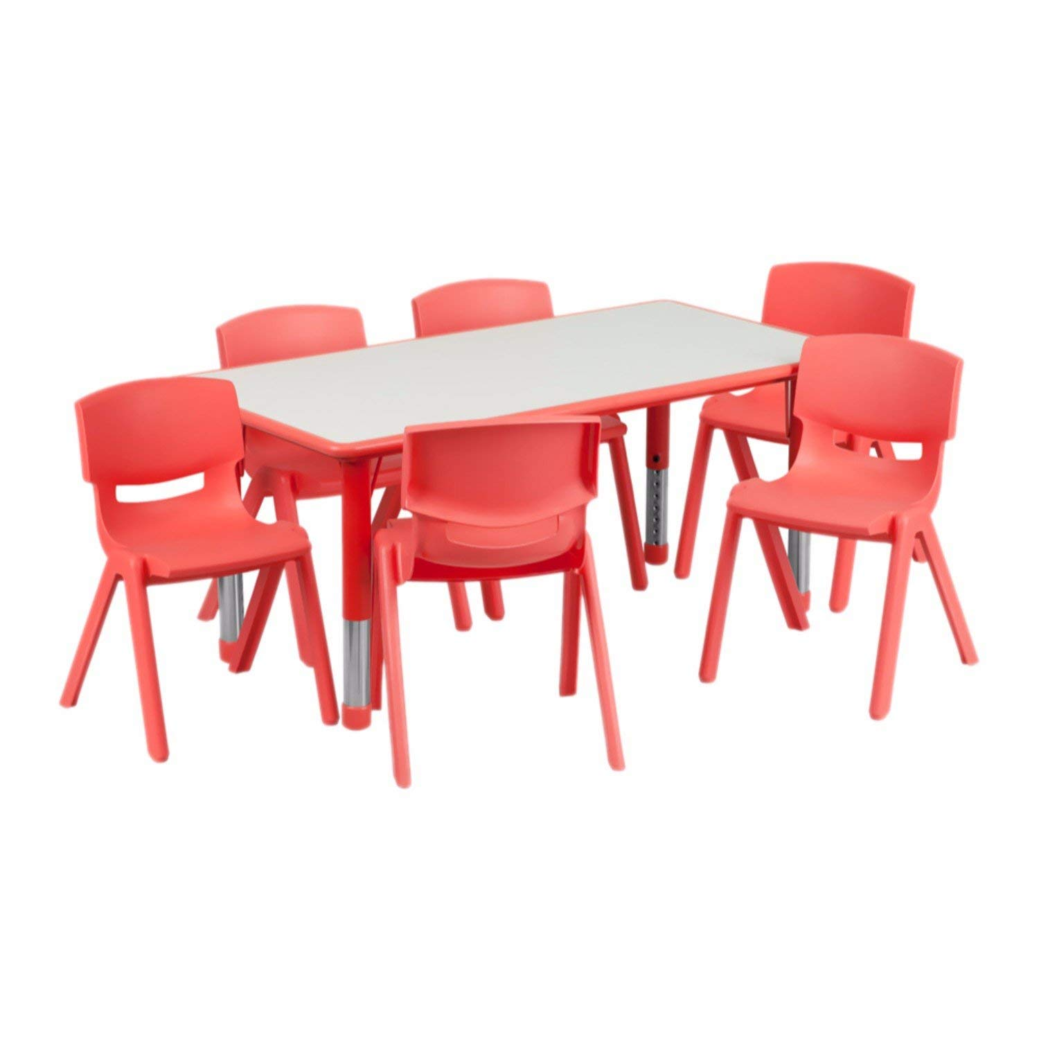 Offex 23.625''W x 47.25''L Rectangular Plastic Height Adjustable Activity Table Set with 6 Chairs - Red