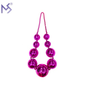 Party Supplies Mardi Gras Beads 100MM Biggest Pink Balls 48 Inch Necklace