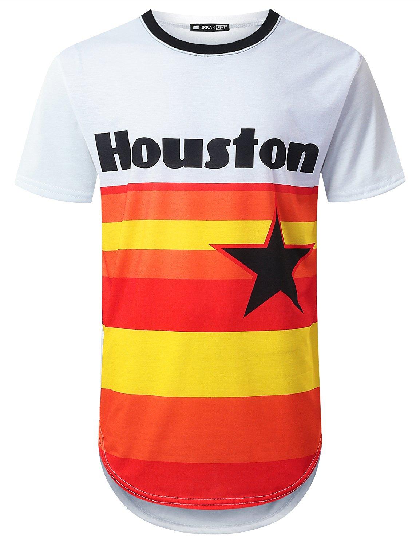 941d6803948 Get Quotations · URBANTOPS Mens Hipster Hip Hop Sports Varsity Graphic  Longline T-Shirt