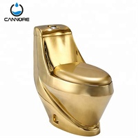 Modern Golden Sanitary Wares WC One Pieces Gold Plating Toilet from chaozhou