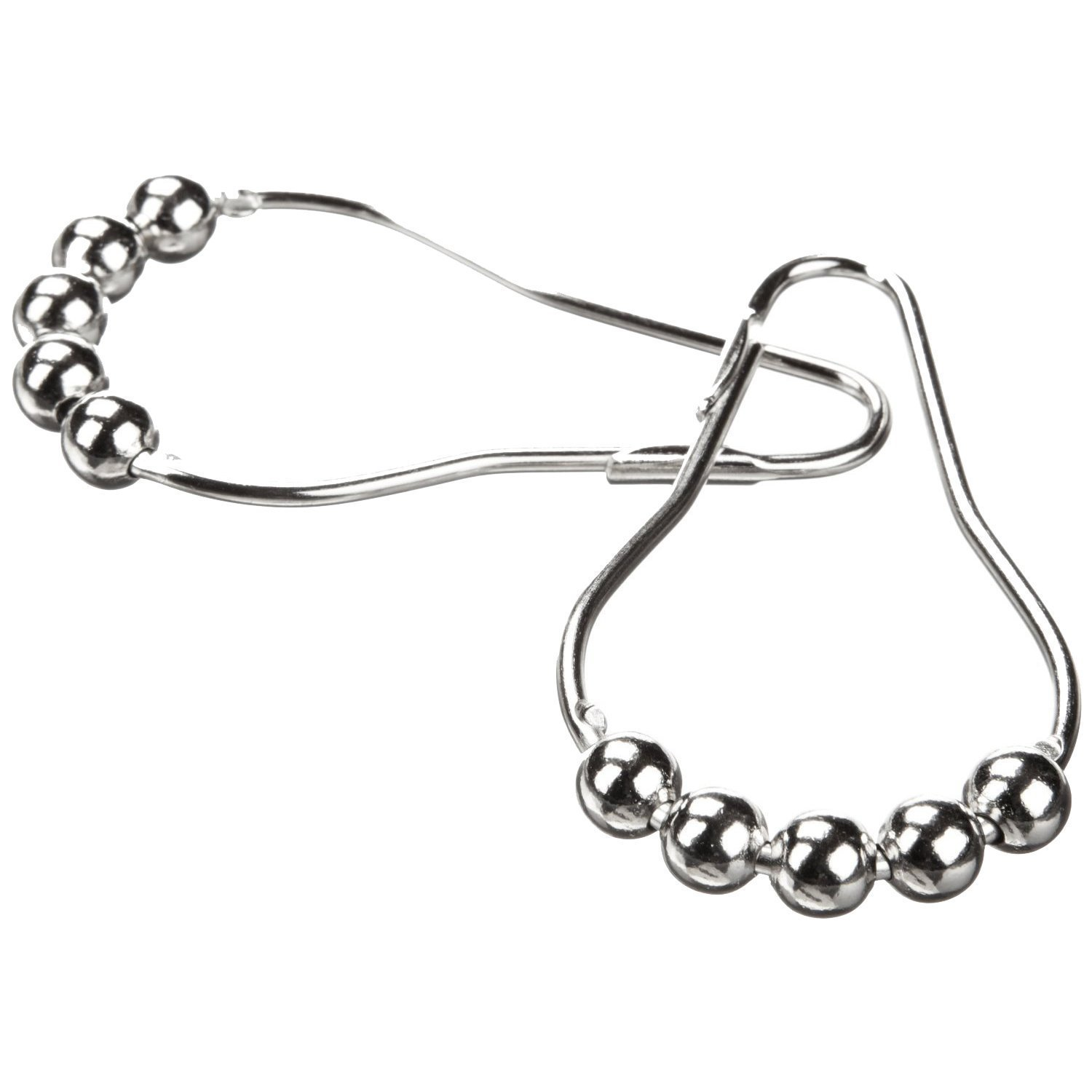 SODIAL(R)Polished Chrome Rolling Shower Curtain Rings - Set of 24 Heavy Duty Hooks