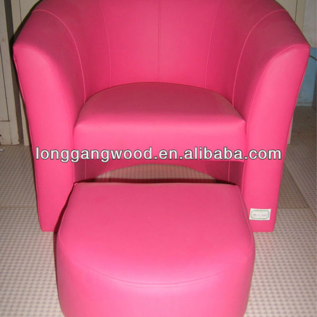 Mini Children Pink Leather Sofa And Stool,kids Leather Sofa And Stool