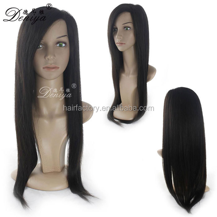 Hand tied natural black 100% remy human hair long full lace wig